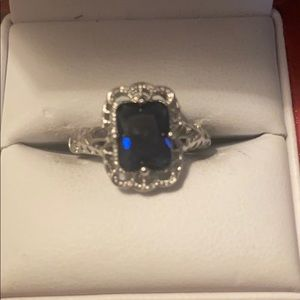 Sterling Silver sapphire vintage ring